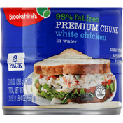 Brookshire's Chicken Breast with Rib Meat in Water, 98% Fat Free, Premium Chunk, 2 Pack