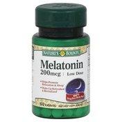 Nature's Bounty Melatonin, Low Dose, 200 mcg, Tablets