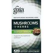 Gaia Herbs Mushroom + Herbs, Everyday Immune, Vegan Capsules