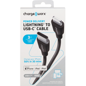 Chargeworx USB-C Cable, 3 FT, Power Delivery