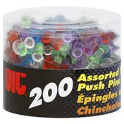 Oic Push Pins, Assorted Translucent Color