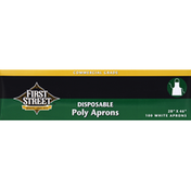 First Street Aprons, Poly, Disposable, White, Commercial Grade