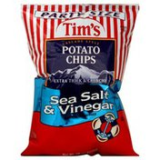 Tims Cascade Potato Chips, Extra Thick & Crunchy, Sea Salt & Vinegar, Party Size