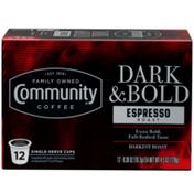 Community Coffee Dark & Bold Espresso Roast Coffee Pods for Keurig K-cups