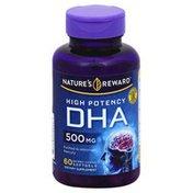 Nature's Reward DHA, High Potency, 500 mg, Enteric Coated Softgels