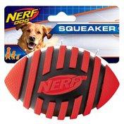 "NERF DOG 5"" Medium Yellow Spiral Interactive Football Dog Squeaker Toy"