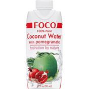 Foco Coconut Water, 100% Pure, with Pomegranate