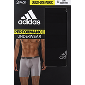 adidas Men's Performance Long Boxer Briefs – 3 Pack - XL - Black/Onix Grey