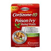 Cortizone 10 Poison Ivy Relief Pads with Healing Aloe Maximum Strength - 10 CT