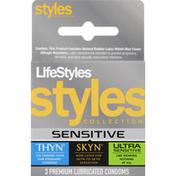 LifeStyles Condoms, Premium Lubricated, Styles Collection