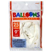 Amscan Balloons, 9 Inch, Helium Quality, Round, White