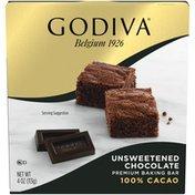 Godiva Unsweetened Chocolate Premium Baking Bar with 100% Cacao