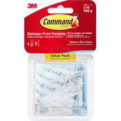 3M Command Wire Hook, Clear, Medium, Value Pack