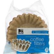Food Lion Coffee Filters, Unbleached, Basket Style, 8 Inch