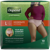 Depend FIT-FLEX Incontinence Underwear for Women, Moderate Absorbency