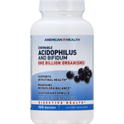 American Health Acidophilus and Bifidum, Chewable, Wafers, Natural Blueberry Flavor