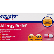 Equate Allergy Relief, 25 mg, Capsules