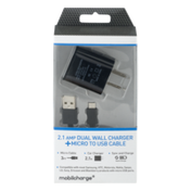 MobilEssentials Mobilcharge 2.1 AMP Dual Wall Charger + Micro To USB Cable