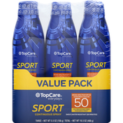 TopCare Sunscreen, Sport, Continuous Spray, Broad Spectrum 50, Value Pack