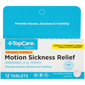 TopCare Original Formula Motion Sickness Relief Dimenhydrinate, 50 Mg Antiemetic For Children & Adults Tablets