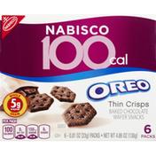 Oreo Wafer Snacks, Baked Chocolate, Thin Crisps, 6 Packs