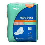 Meijer Ultra Thin Maxi Pads With Flexi Wings, Overnight Absorbency, Size 4