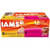 IAMS 6 Pate with Gourmet Chicken/6 Tender Beef in Broth Variety Pack Cat Food