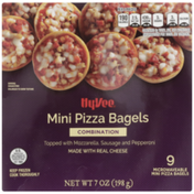 Hy-Vee Combination Mini Pizza Bagels Topped With Mozzarella, Sausage And Pepperoni