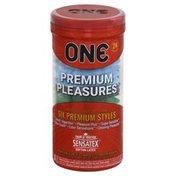 One Condoms, Lubricated, Premium Pleasures