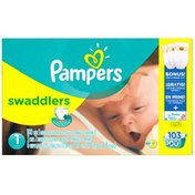 Pampers Swaddlers Size 1 Super Pack with Bonus Diapers