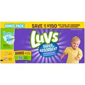 Luvs Super Absorbent Leakguards Diapers Size 5 Bonus Pack 96 count Diapers