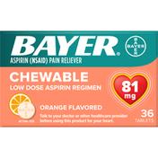Bayer Aspirin, Low Dose, Orange Flavored, 81 mg, Chewable, Tablets