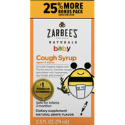 Zarbee's Naturals Cough Syrup, Agave & Thyme, Natural Grape Flavor, Baby