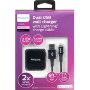 Philips Dual USB Wall Charger, Lightning Charge Cable
