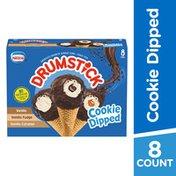 Drumstick Cookie Dipped Vanilla/Vanilla Fudge/Vanilla Caramel Frozen Dairy Dessert Cones