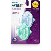 Philips Avent Avent Soothie Pacifier,  0-3 months, Various Colors, 2pk, SCF190/06