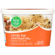 Food Club Candy Bar Overload Caramel Flavored Premium Ice Cream, Nougat Swirls & Tasty Caramel & Chocolate Covered Peanuts