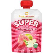 Happy Squeeze Organic Super Apple, Strawberry & Guava Blended Fruit Snack Pouch