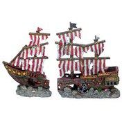 Penn-Plax Striped Sail Shipwreck Set Aquarium Sculptures