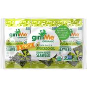 gimMe Seaweed, Sea Salt & Avocado Oil, Premium Roasted, 6 Pack