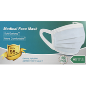Winner Medical Medical Face Mask, Earloop, Blue, 3-Ply
