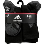 adidas Socks, Crew, Black, 13C-4Y, Medium