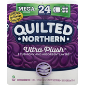 Quilted Northern Bathroom Tissue, Unscented, Mega Rolls, Ultra Plush, 3-Ply