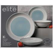 Gibson Elite Dinnerware Set, Stoneware, Sunbreeze, Blue