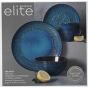 Gibson Elite Dinnerware Set, Stoneware, Milanto, Blue