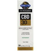 Garden of Life Whole Hemp Extract, CBD 30 mg, Peppermint, Liquid Drops