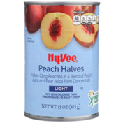 Hy-Vee Light Yellow Cling Peach Halves In A Blend Of Peach Juice And Pear Juice From Concentrate