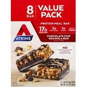 Atkins Granola Bar, Chocolate Chip, Value Pack, 8 Pack