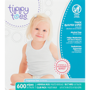 Tippy Toes Thick Quilted Wipes, Fragrance Free