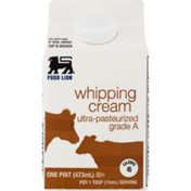 Food Lion Whipping Cream, Ultra-Pasteurized, Brick